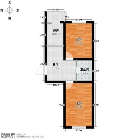 迅驰净月大学城2室1厅1卫1厨48.14㎡户型图