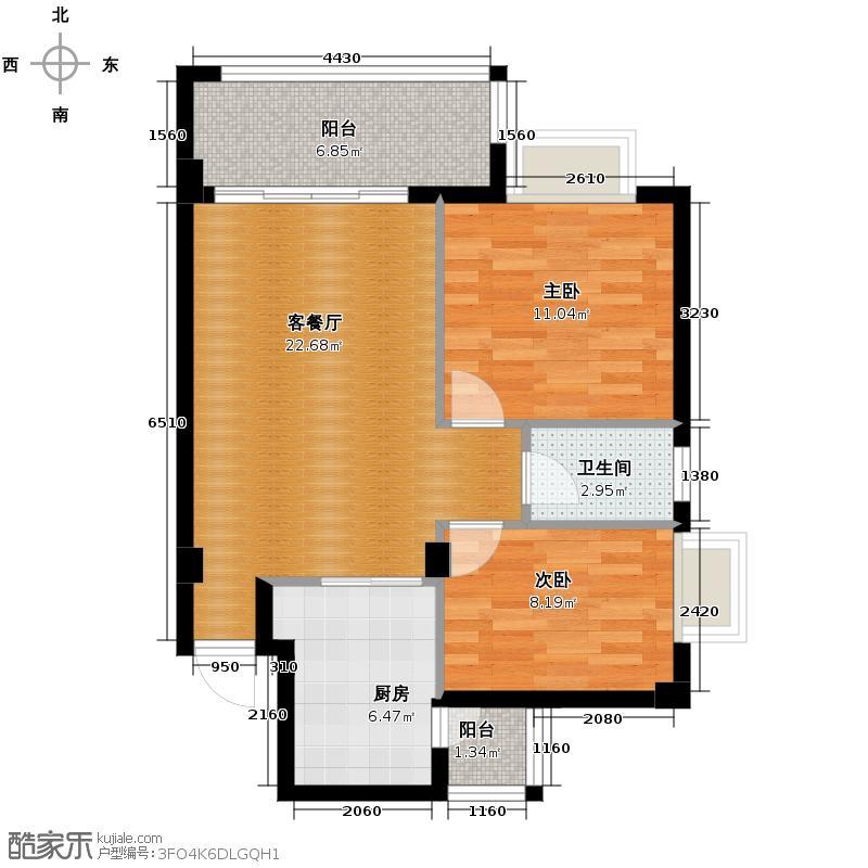 西堤国际花园71.82㎡05/06/07/08座4-9层01单元户型2室1厅1卫1厨