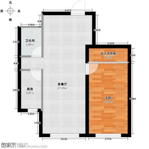 嘉柏湾1室1厅1卫1厨76.00㎡户型图