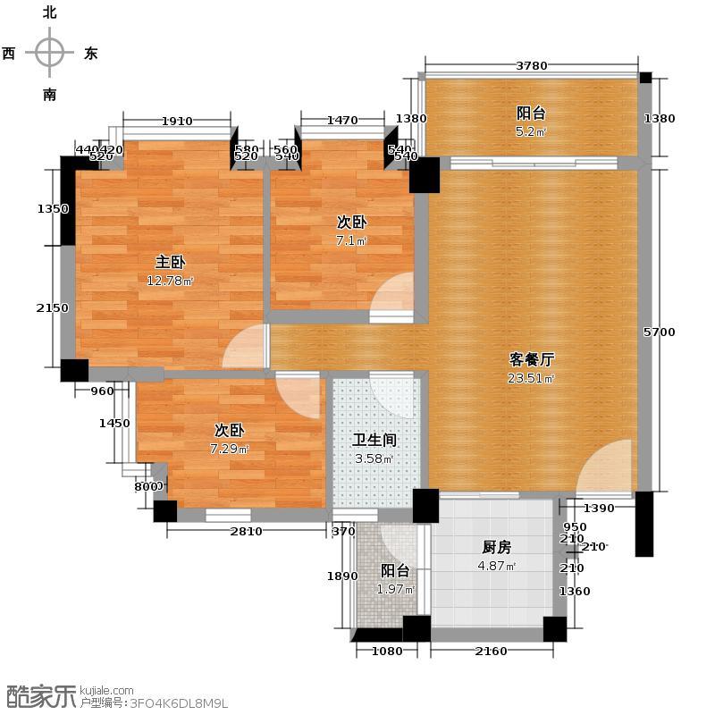 西堤国际花园84.50㎡1、2、3、4栋1座02单位户型3室1厅1卫1厨