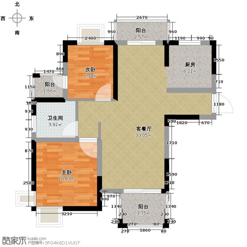 皇马花园81.99㎡小高层F1户型2室1厅1卫