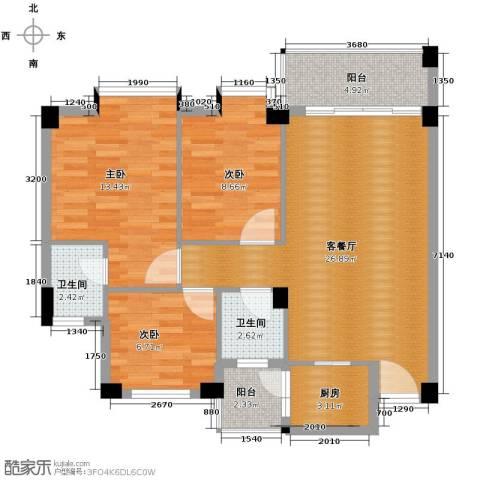 西堤国际花园3室1厅2卫1厨89.00㎡户型图