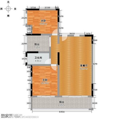 海棠福湾一号2室2厅2卫0厨129.00㎡户型图