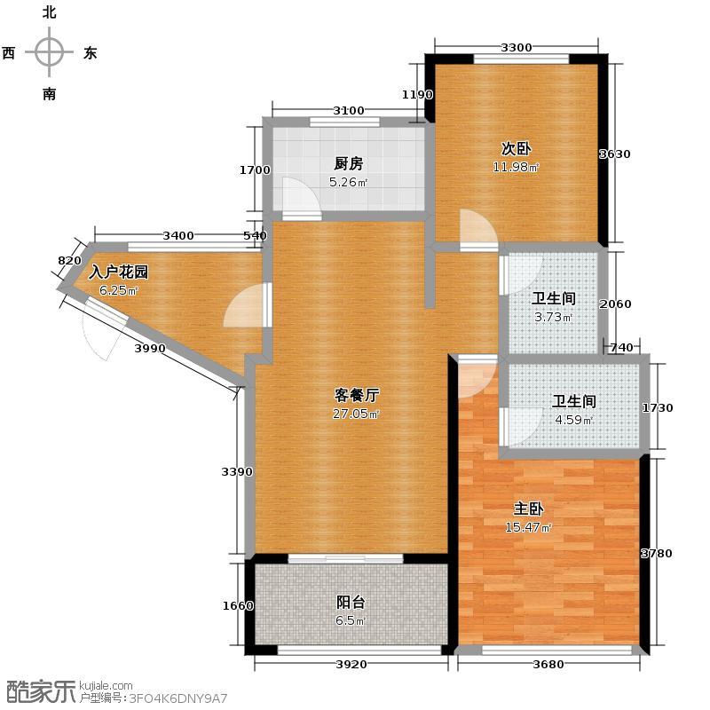 万宁国瑞城104.00㎡B3户型2室1厅2卫1厨