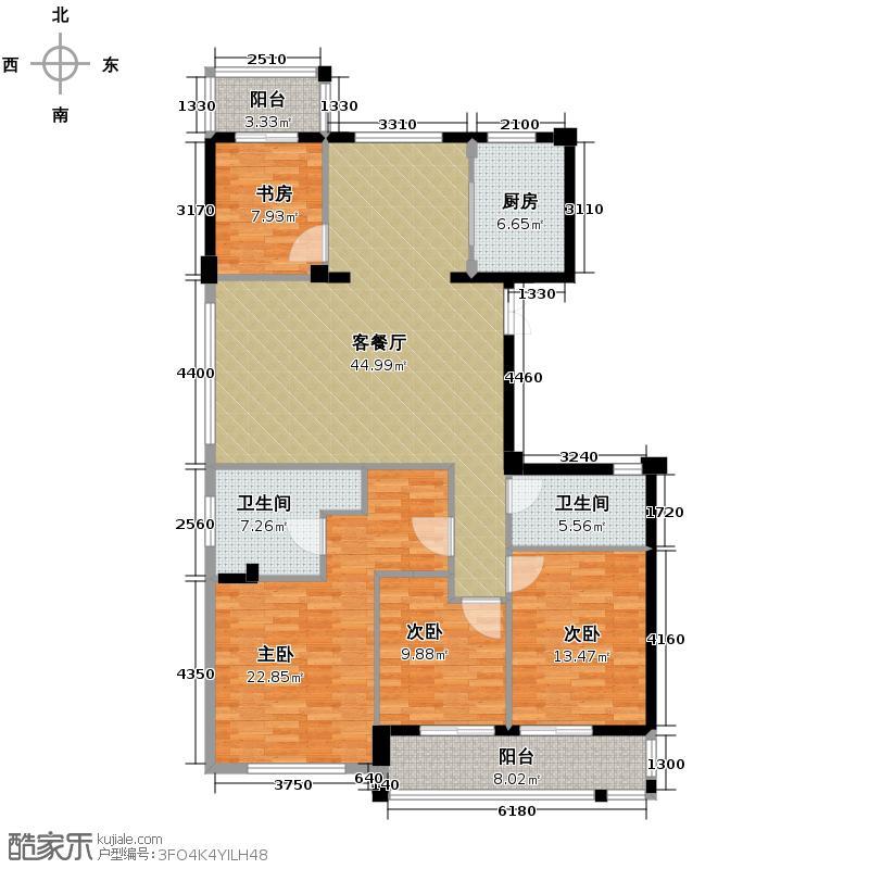 曙光之城165.00㎡滨江H1偶数层户型4室1厅2卫1厨