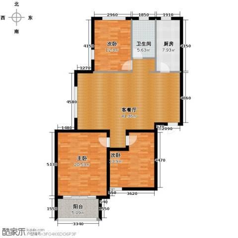 青春水岸3室2厅1卫0厨106.84㎡户型图