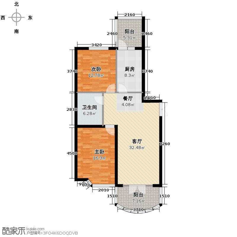 润园翡翠城107.03㎡D1号楼二居户型10室