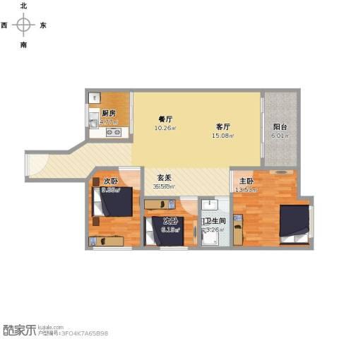 汇龙湾花园3室1厅1卫1厨111.00㎡户型图