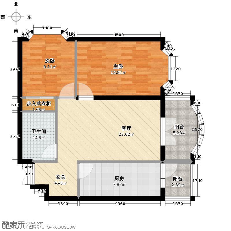 润园翡翠城93.56㎡D4号楼二居户型10室