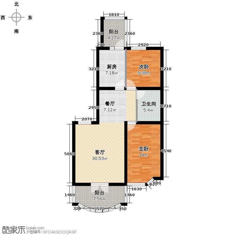 润园翡翠城108.81㎡D3号楼二居户型10室