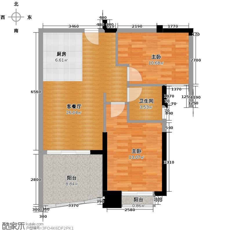 富力湾75.00㎡悦海阁H区5号户型2室2厅1卫