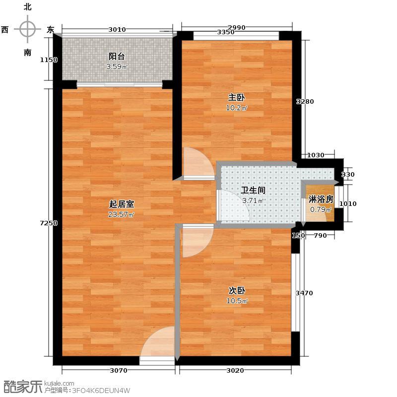 翠屏・凤凰水城66.96㎡F1/C户型2室2厅1卫