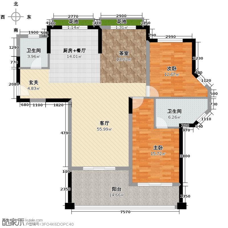 珊瑚宫殿153.00㎡海景公寓B3户型3室2厅2卫