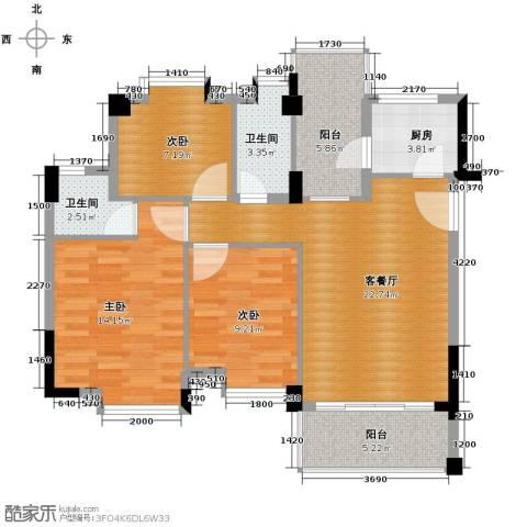 西堤国际花园3室1厅2卫1厨105.00㎡户型图
