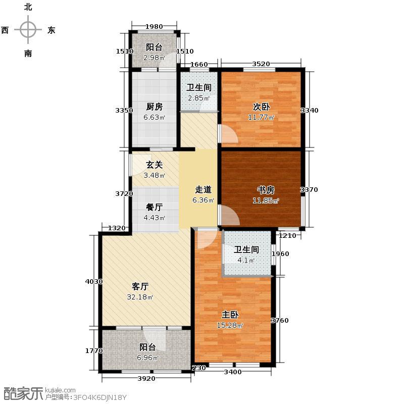 群力玫瑰湾11.00㎡D11/D12预测户型3室2厅2卫