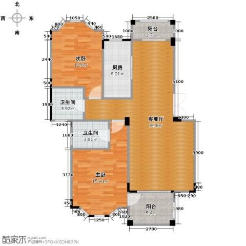 水岸新都花苑2室1厅2卫1厨87.00㎡户型图