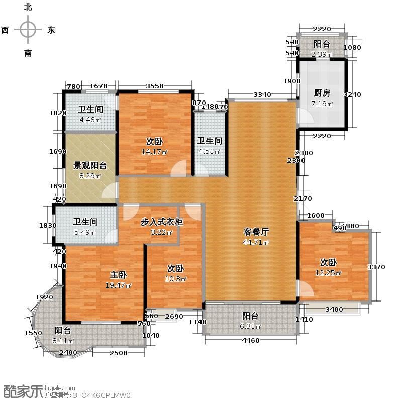 中信金山湾193.00㎡3号楼01单位户型5室2厅3卫