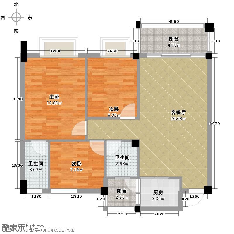 西堤国际花园91.81㎡18/19/20座3-6层01/04单元户型3室1厅2卫1厨