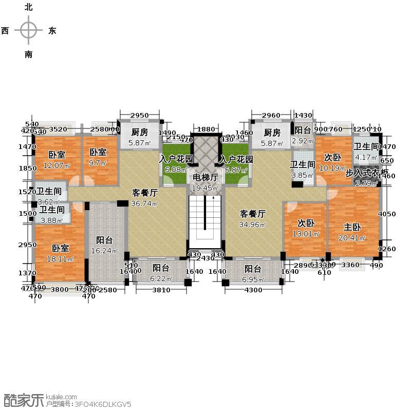 西堤国际花园280.19㎡06栋2座9-10层户型3室2厅4卫2厨