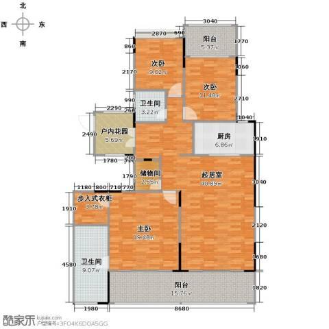 海棠福湾一号3室2厅2卫0厨160.00㎡户型图