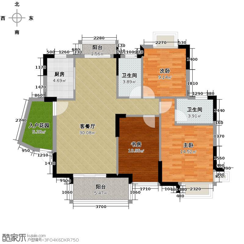 康怡花园122.45㎡御1晴居3座03单位户型3室1厅2卫1厨