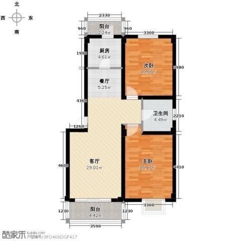 伯爵山庄2室1厅1卫1厨90.00㎡户型图