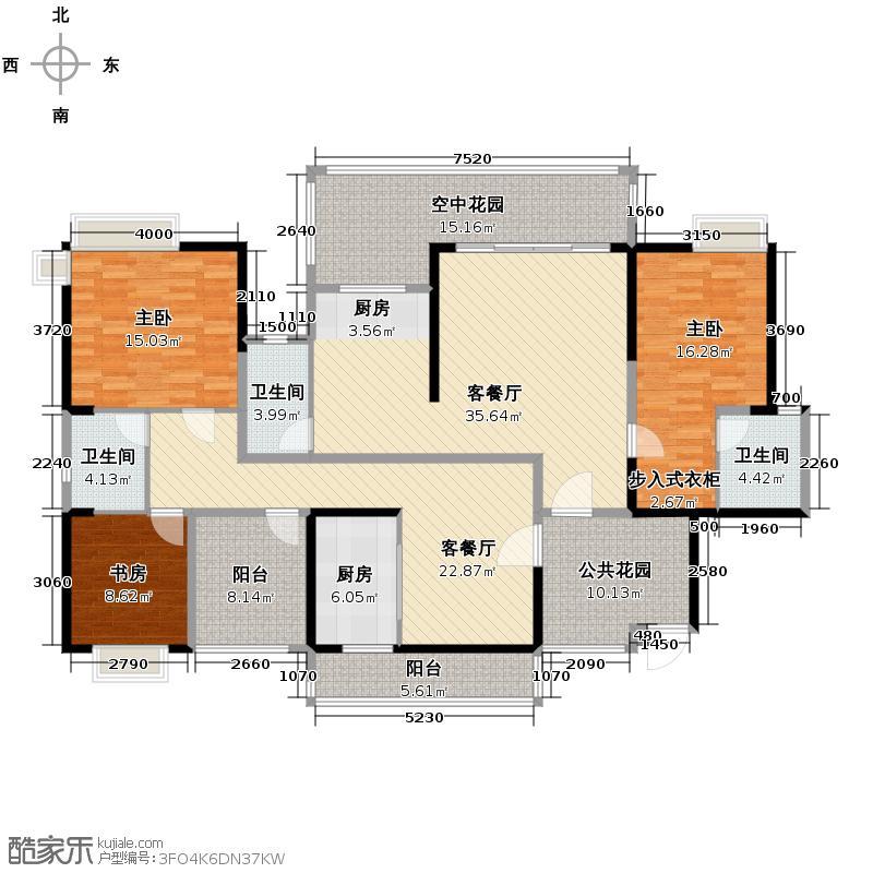 容桂碧桂园186.29㎡1座03+04单位J242户型3室2厅3卫
