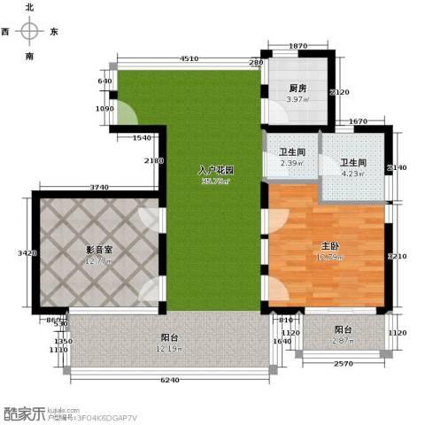 亚龙湾公主郡三期1室1厅1卫0厨92.00㎡户型图
