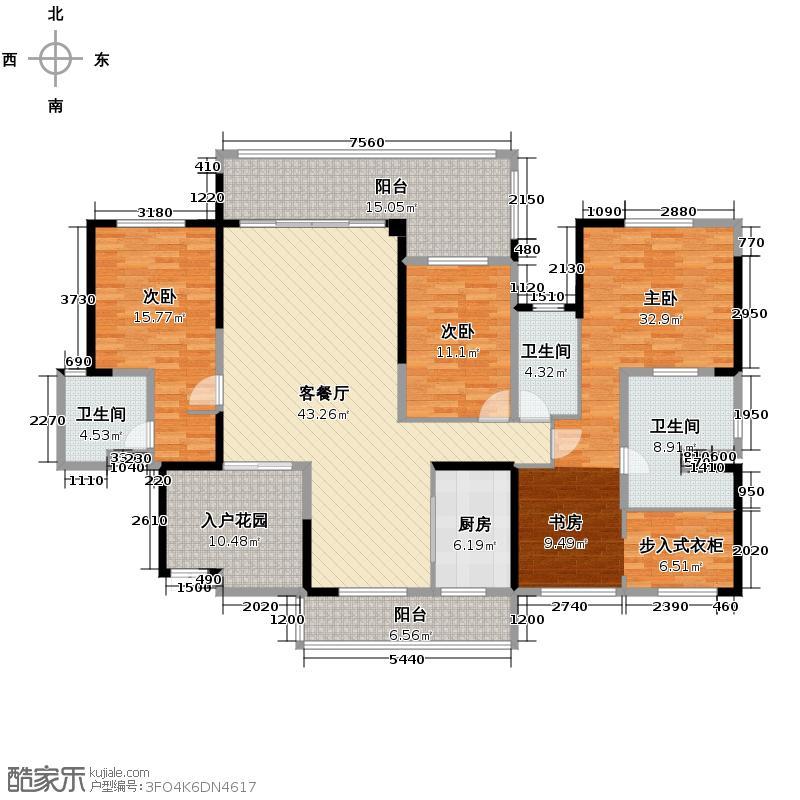 容桂碧桂园181.24㎡1座01+02单位J242户型3室2厅3卫