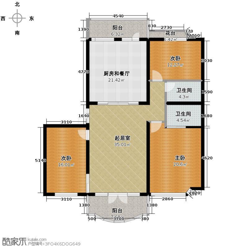 润园翡翠城145.63㎡户型10室