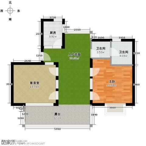 亚龙湾公主郡三期1室1厅1卫0厨99.00㎡户型图