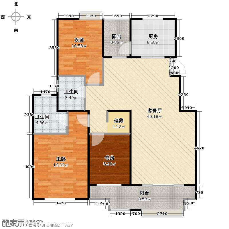 东方曼园118.00㎡一期A户型3室2厅2卫