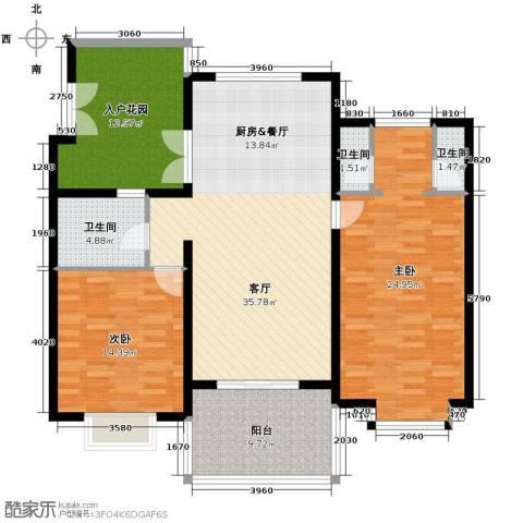 亚龙湾公主郡三期2室2厅2卫0厨120.00㎡户型图