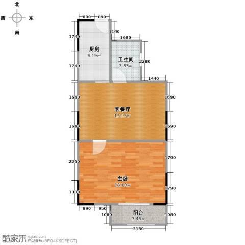 瑞鸿名邸1室1厅1卫1厨66.00㎡户型图