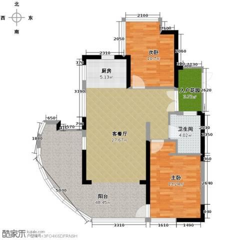 鲁能三亚湾2室1厅1卫0厨95.00㎡户型图