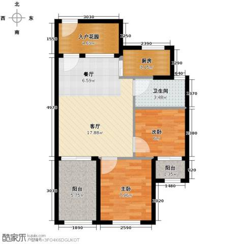 君和君泰2室1厅1卫1厨65.00㎡户型图