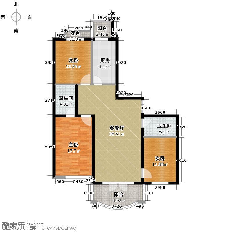 润园翡翠城125.25㎡户型10室