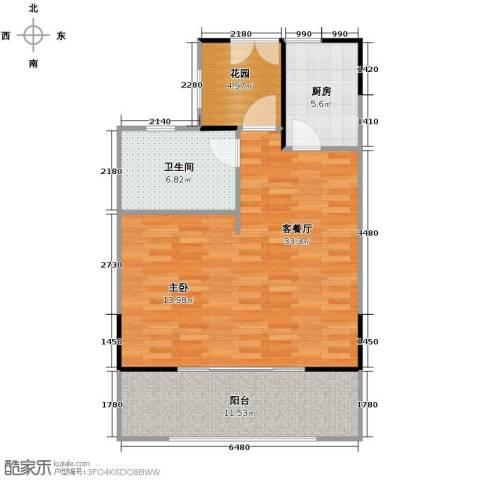 海棠福湾一号1室1厅1卫0厨74.00㎡户型图