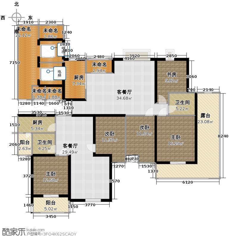 海天城118.78㎡野风户型5室2厅2卫2厨