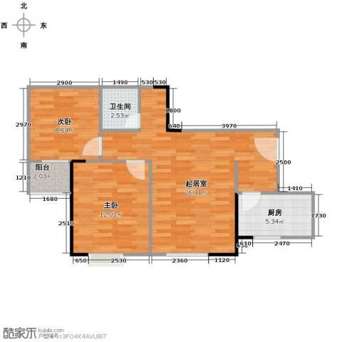 天朗御湖2室0厅1卫1厨73.00㎡户型图