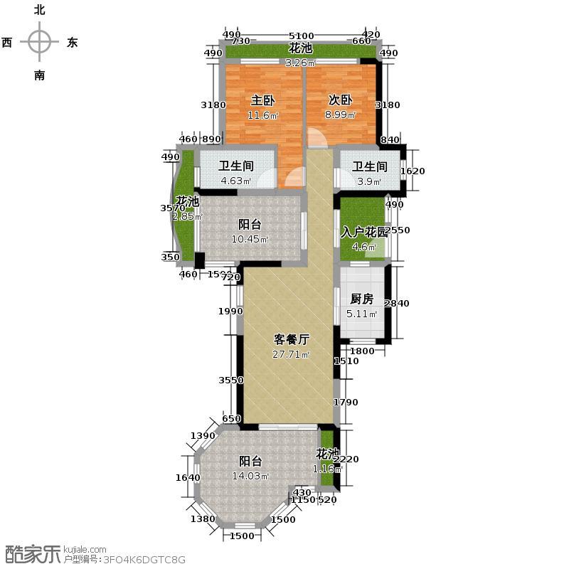 君和君泰183.00㎡E正面户型3室2厅2卫