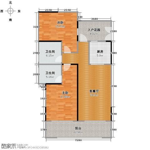 海棠福湾一号2室2厅2卫0厨113.00㎡户型图