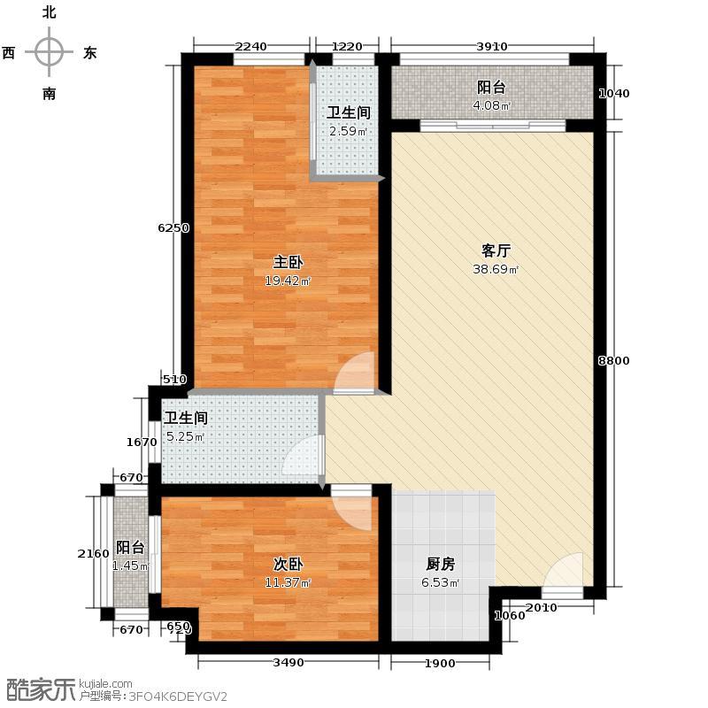 翠屏・凤凰水城84.67㎡F3公寓C户型2室1厅2卫