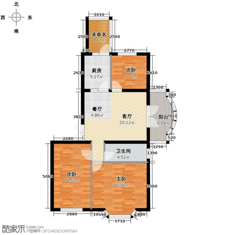 润园翡翠城116.22㎡B2号楼二居户型10室