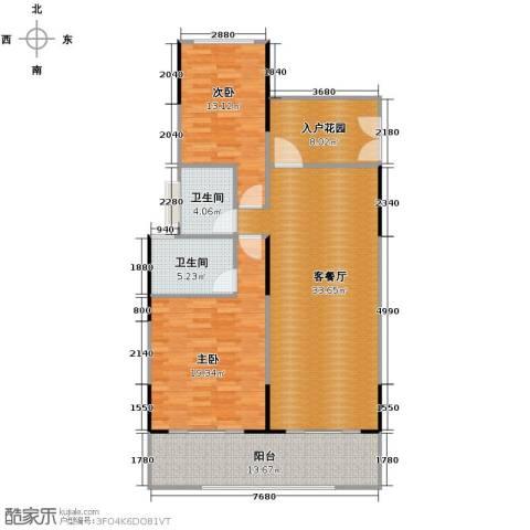 海棠福湾一号2室2厅2卫0厨115.00㎡户型图