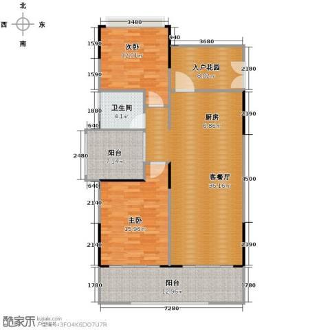 海棠福湾一号2室2厅1卫0厨108.00㎡户型图