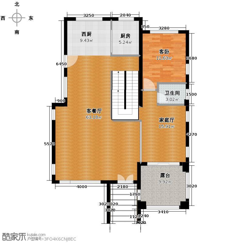 御江南121.19㎡B一层平面图户型1室3厅1卫