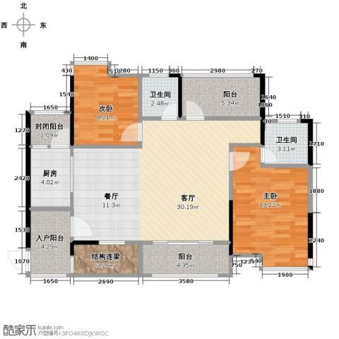 嘉景华庭2室1厅2卫1厨106.00㎡户型图