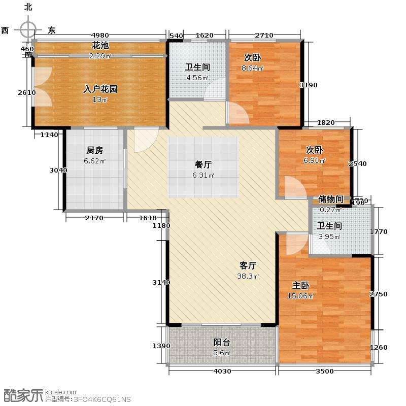 地铁金融城123.81㎡A3栋7-27层01单位户型3室2厅2卫