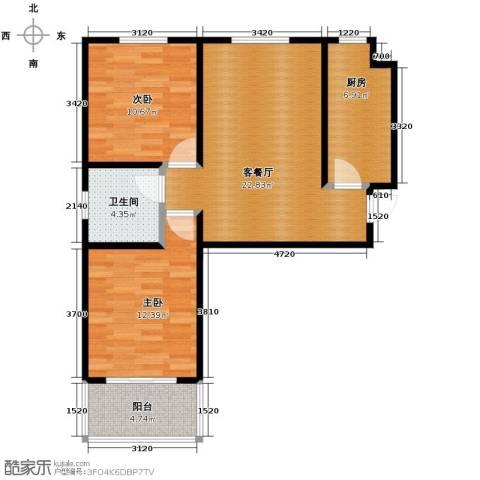 江南鸿郡2室2厅1卫0厨83.00㎡户型图
